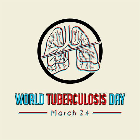 World Tuberculosis Day with crash Lungs icon vector cartoon Ilustração
