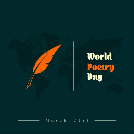 World Poetry Day on March 21st with Goose feather pen Ilustracja