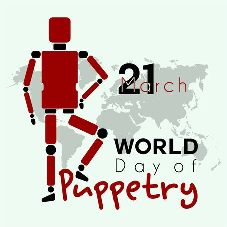 Typography for World Puppetry Day on March 21st Ilustración de vector