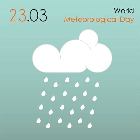 World Meteorological Day with drizzle icon Ilustração