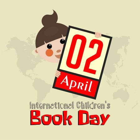International Childrens Book Day on 2 April with child behind the text board