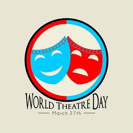 World Theater Day with mask icon vector cartoon