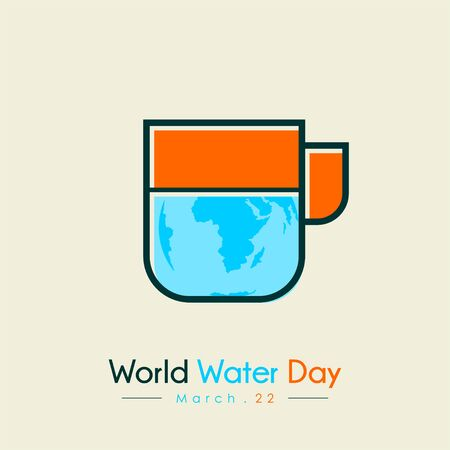 World Water Day with world map and water on mug vector design