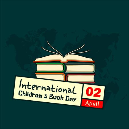International Childrens Book Day on 2 April with stack of books, open top book vector cartoon 向量圖像