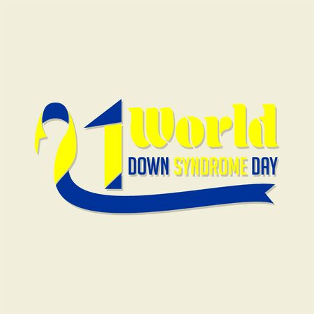 Typography for World Down Syndrome Day with the ribbon that forms number 21 Ilustracja