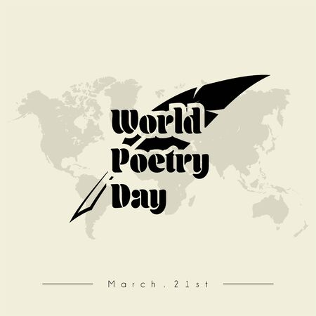 Typography for World Poetry Day on March 21st with Goose feather pen Foto de archivo - 131834740