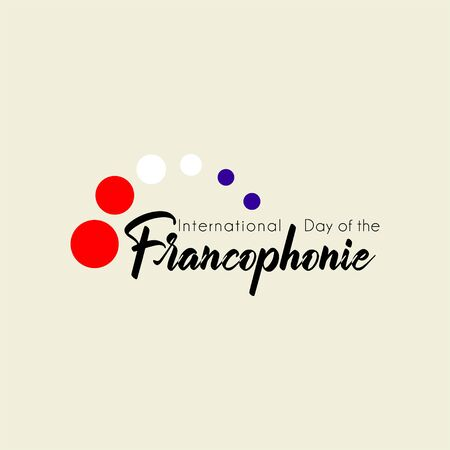 Typography design for International Day of the Franco phone with flying red white blue dot concept