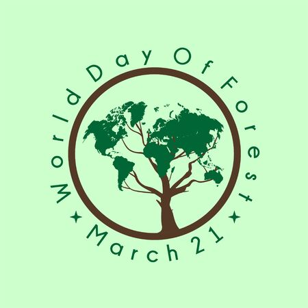 World Day of Forest with tree on circle vector design Ilustração
