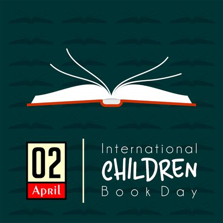 International Childrens Book Day on 2 April with open book cartoon vector design 向量圖像