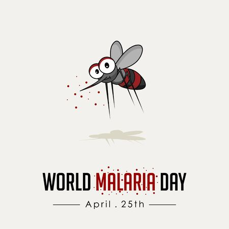 World Malaria Day with malaria mosquitoes carry the plague vector cartoon design