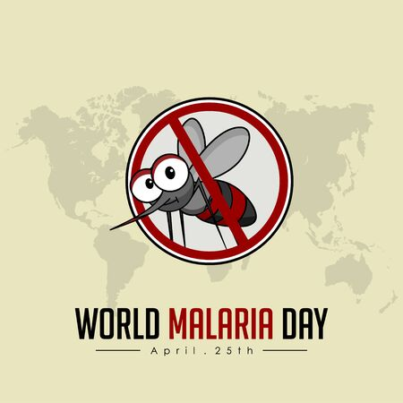 World Malaria Day with stop mosquito vector cartoon design