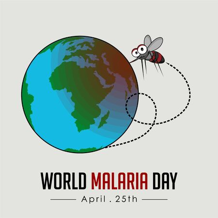 World Malaria Day with flying mosquito and bite the earth vector cartoon design Reklamní fotografie