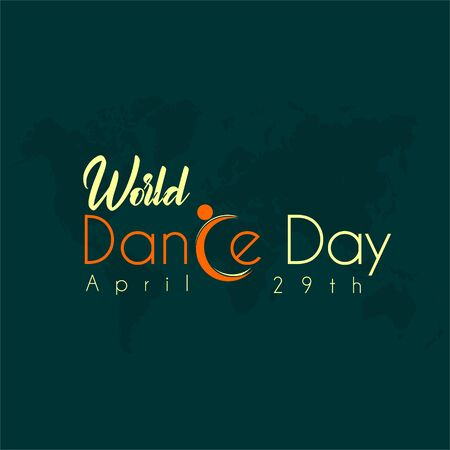 Typography for World Dance Day with dance icon for C alphabet vector cartoon