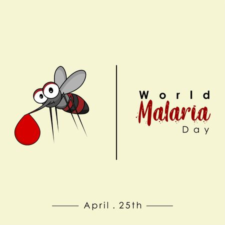 World Malaria Day with flying mosquitoes carry the blood vector cartoon design