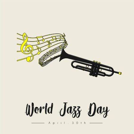 World Jazz Day with the trumpet makes a scale vector cartoon