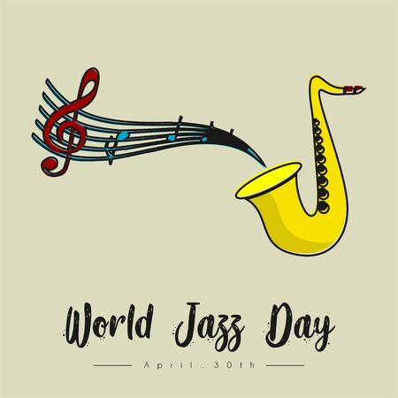 World Jazz Day with the saxophone makes a scale vector cartoon