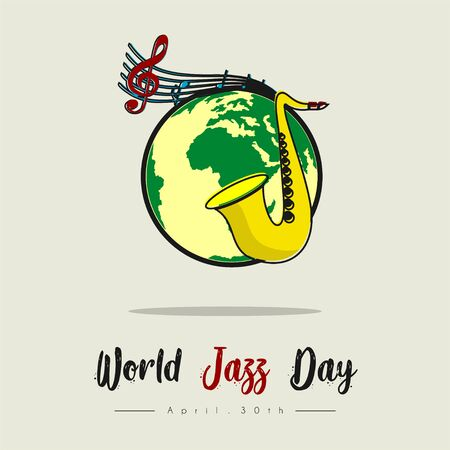 World Jazz Day with Saxophone and World Globe vector cartoon