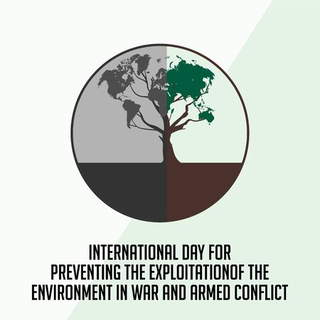 International Day for Preventing the Exploitation of the Environment in War and Armed Conflict with half the tree burned Imagens - 131987823