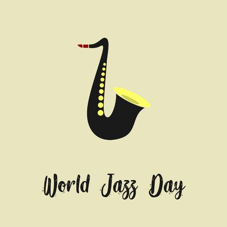 World Jazz Day with Saxophone cartoon vector Çizim