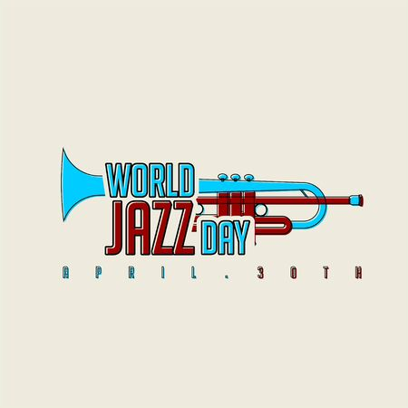 Red and Blue Typography for World Jazz Day on 30 April
