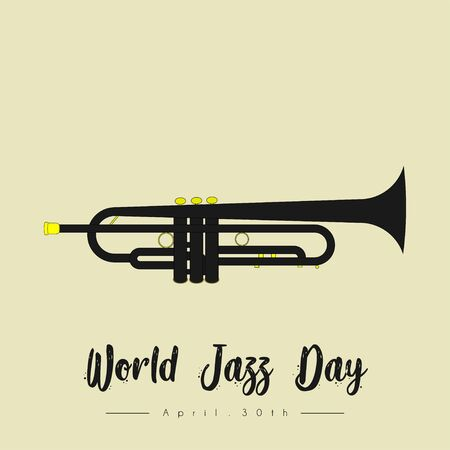World Jazz Day with trumpet cartoon vector Çizim