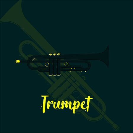 Trumpet vector cartoon with trumpet background