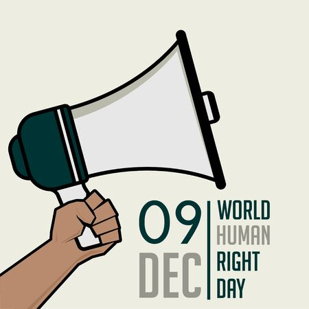 World Human Right Day with hand holding a megaphone