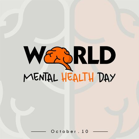 World Mental Health Day Typography logo with Brain Concept design and brain background