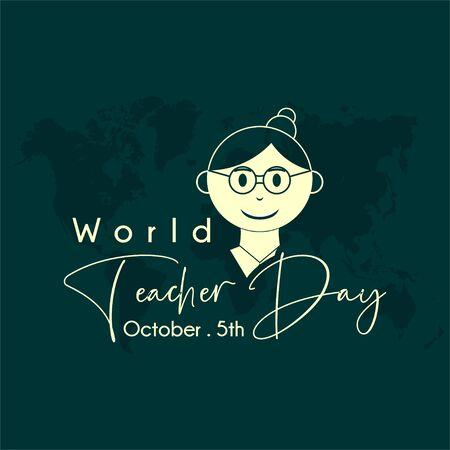 World Teacher Day with Young woman teacher cartoon icon