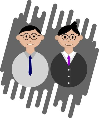 Couple Young Teacher Avatar character using eyeglasses with cartoon vector design 版權商用圖片