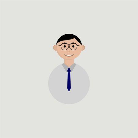 Young Man Teacher Avatar character using eyeglasses with cartoon vector design