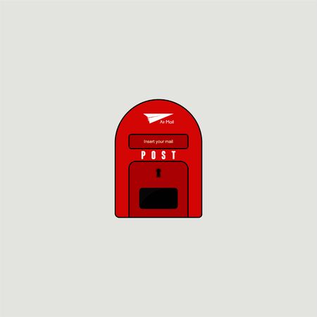 Post box Icon, Mail Box Icon with red color Stock fotó