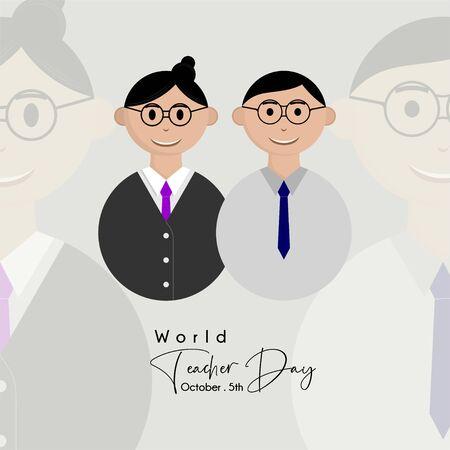 World Teacher Day with man and woman teacher icon