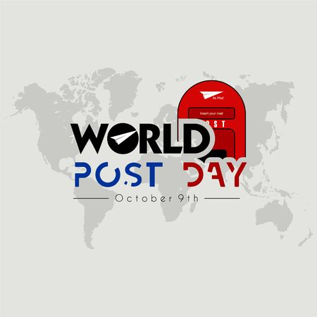 World Post Day logo with post box (mail box) icon design and world map background Stock fotó