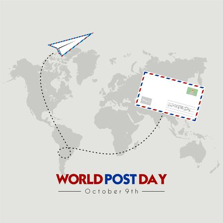 World Post Day with Flying mail paper on the world with world map background Stock fotó