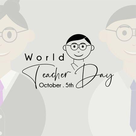 World Teacher Day with Young man teacher black cartoon icon 版權商用圖片
