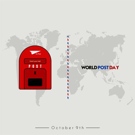 World Post Day with post box (mail box) icon design and world map background