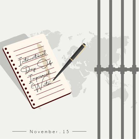 International Day Of Imprisoned Writer Design with a pen that writes on note book paper in prison and world map background
