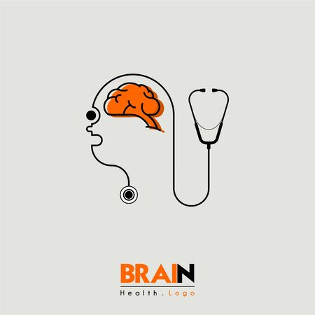 Brain and health cartoon icon seen from the side with head people and stethoscope