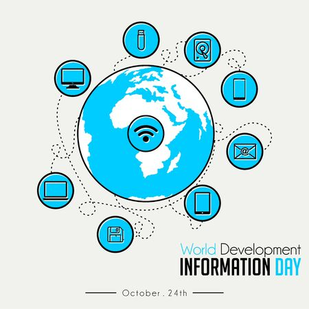 World Development Information Day with Globe and flying technology Information icon