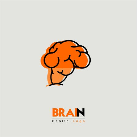 Fat Brain and health cartoon icon seen from the side 写真素材
