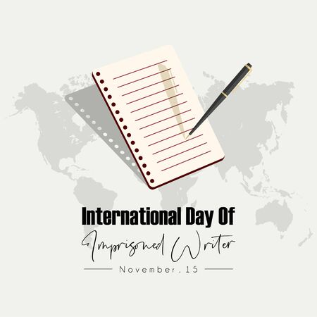 International Day Of Imprisoned Writer Design with a pen that writes on note book paper and world map background Stok Fotoğraf