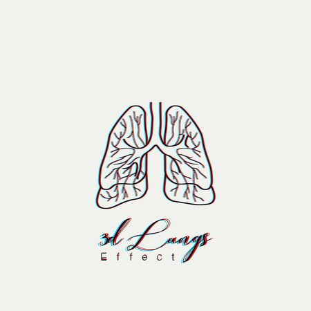 (Red blue) color effect Lungs Cartoon Vector