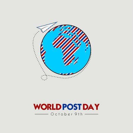 World Post Day with Flying paper on the world
