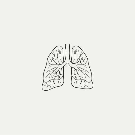 Outline (Line art) Lungs Cartoon Vector for Template Zdjęcie Seryjne