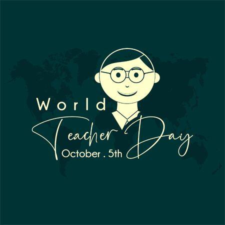 World Teacher Day with Young man teacher cartoon icon