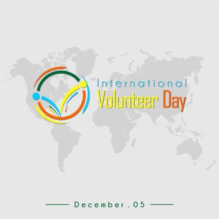 International Volunteer Day Typography with Volunteer icon and world map