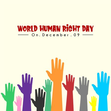 World Human Right Day with colorful hands up