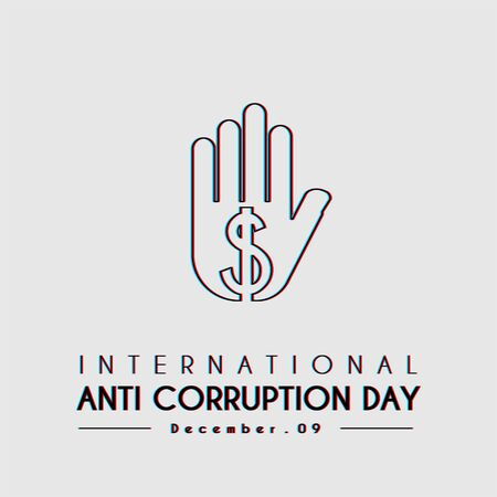 International Anti Corruption Day with stop dollar hands