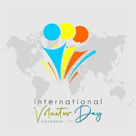 International Volunteer Day Typography with 3 human Volunteer icon